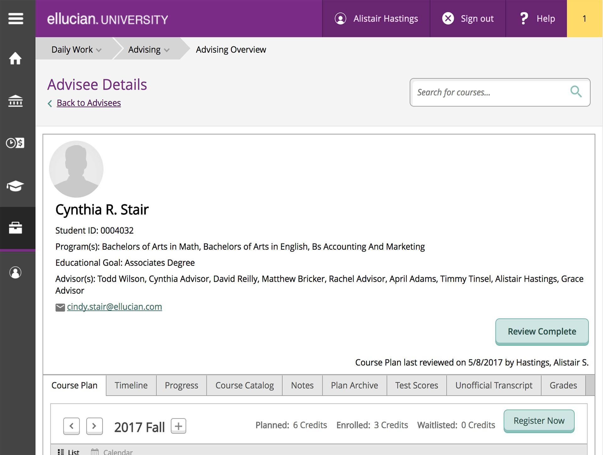 Ellucian student advisory services