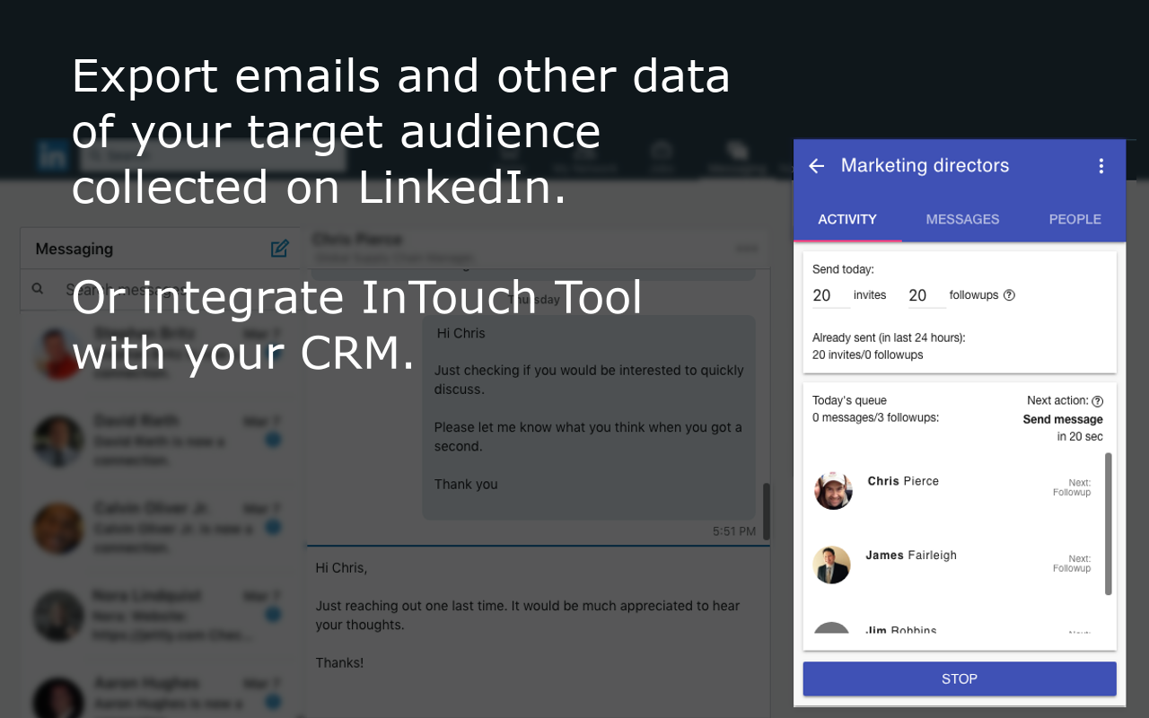 LinkedIn email extractor - automatically scrape LinkedIn profiles of your target audience. Extract their emails and other personal data and export them into a CSV file or your CRM.