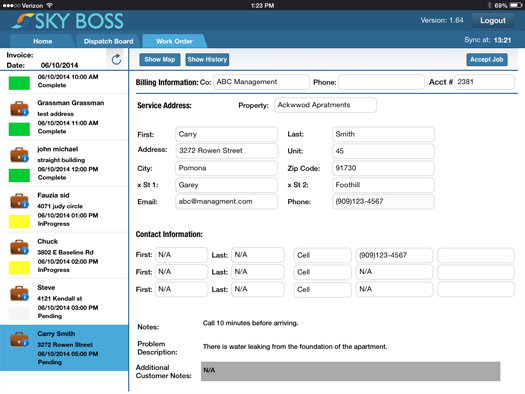 Client relationship management features include access to customer histories and fully searchable client contact records