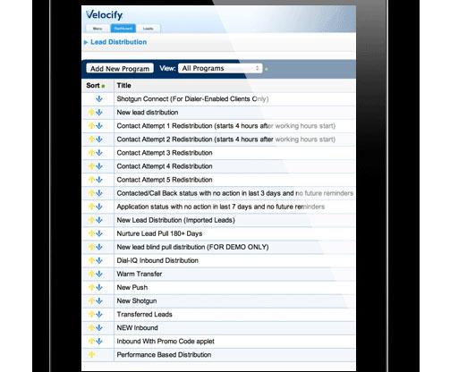 Velocify-SalesManagement-AddNewProgram
