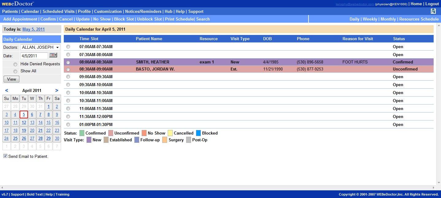 WEBeDoctor Software - WEBeDoctor's Calendar