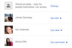 Google Drive screenshot: Manage user permissions to control who can view, comment, or edit files