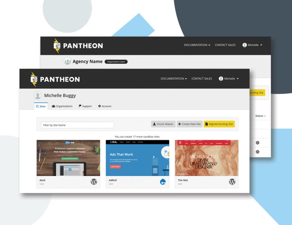 Pantheon sites dashboard screenshot