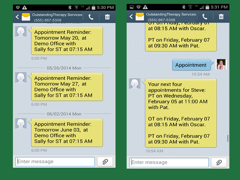 SMS appointment reminders in both English and Spanish