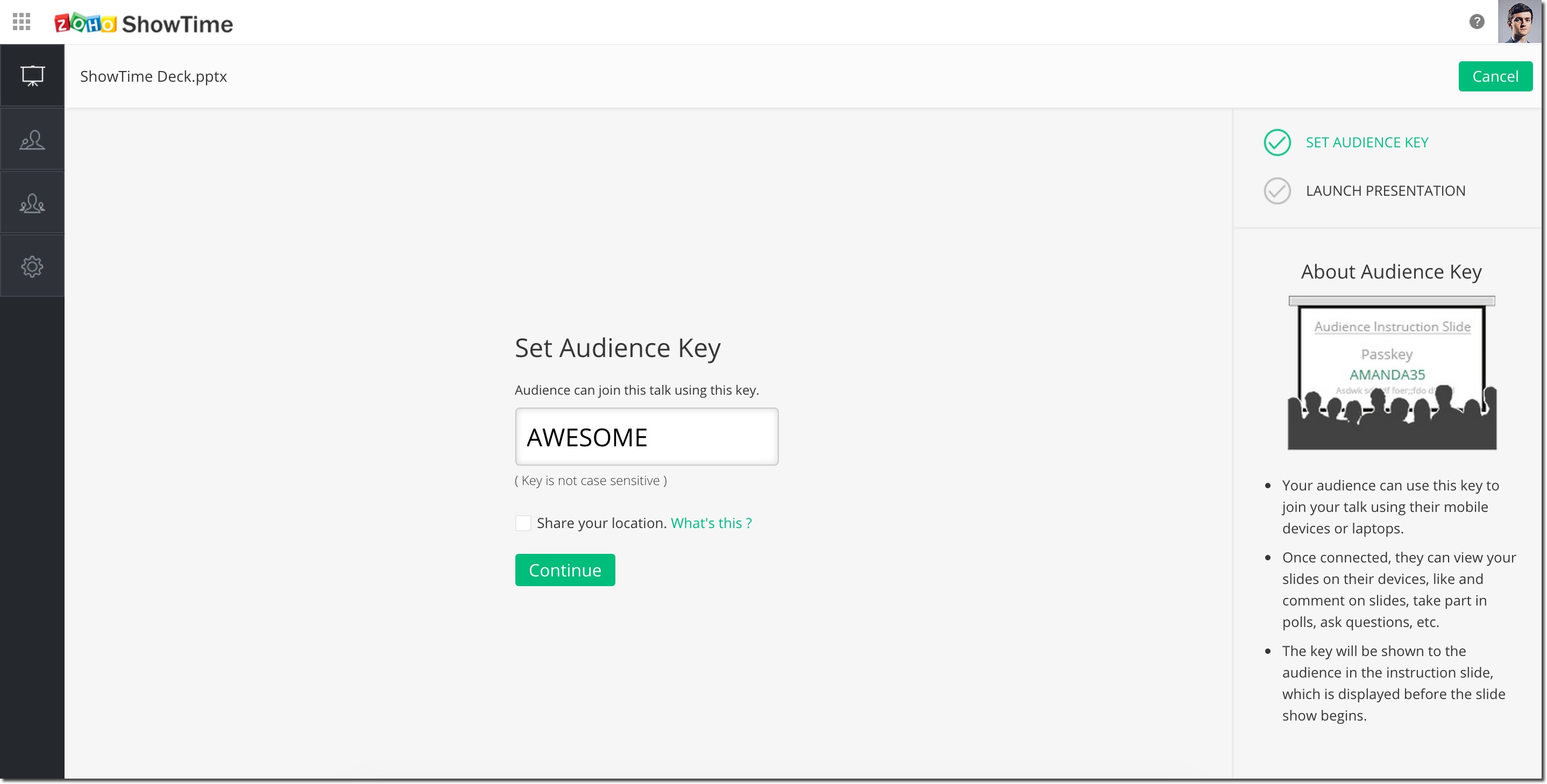 Zoho ShowTime audience key