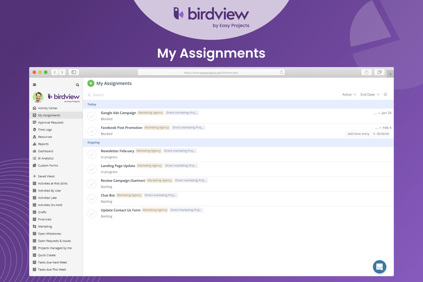 Birdview PSA - My assignments