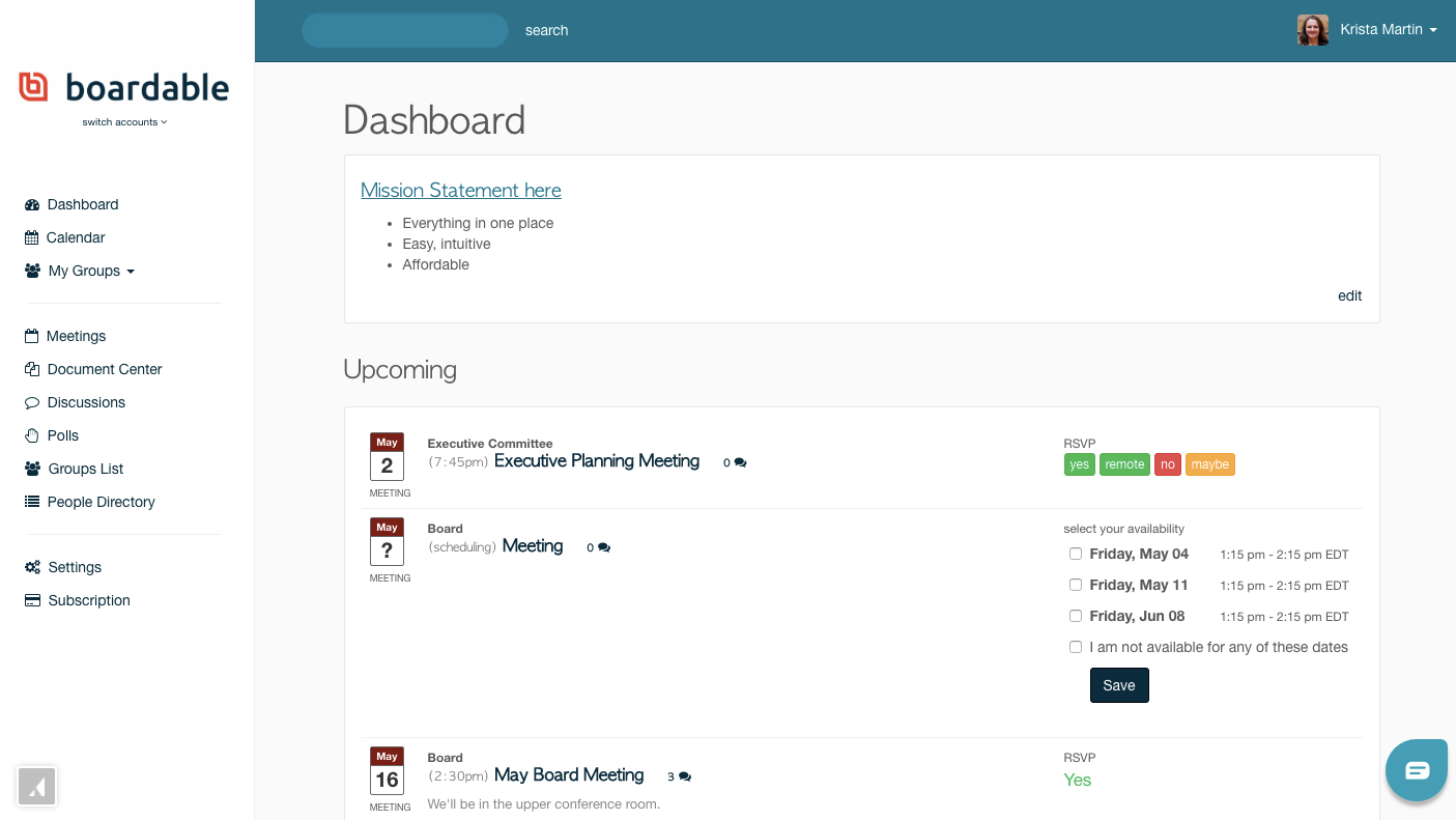 Boardable dashboard