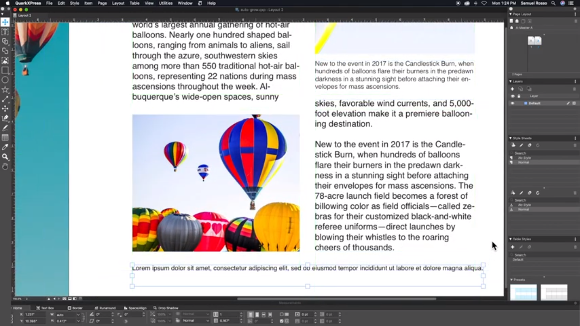QuarkXPress text box