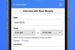 Indeed screenshot: Schedule interviews and include a message