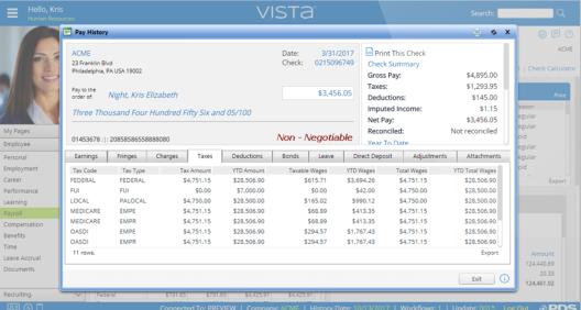 Vista Payroll viewing pay history
