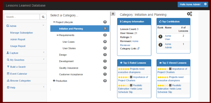 Lessons Learned Database Software - Browse categories and top-rated items