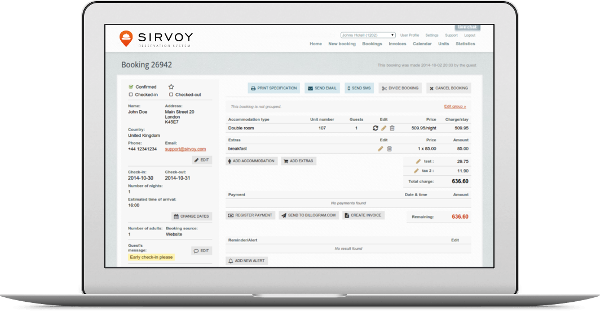 The booking detail page in Sirvoy Booking System