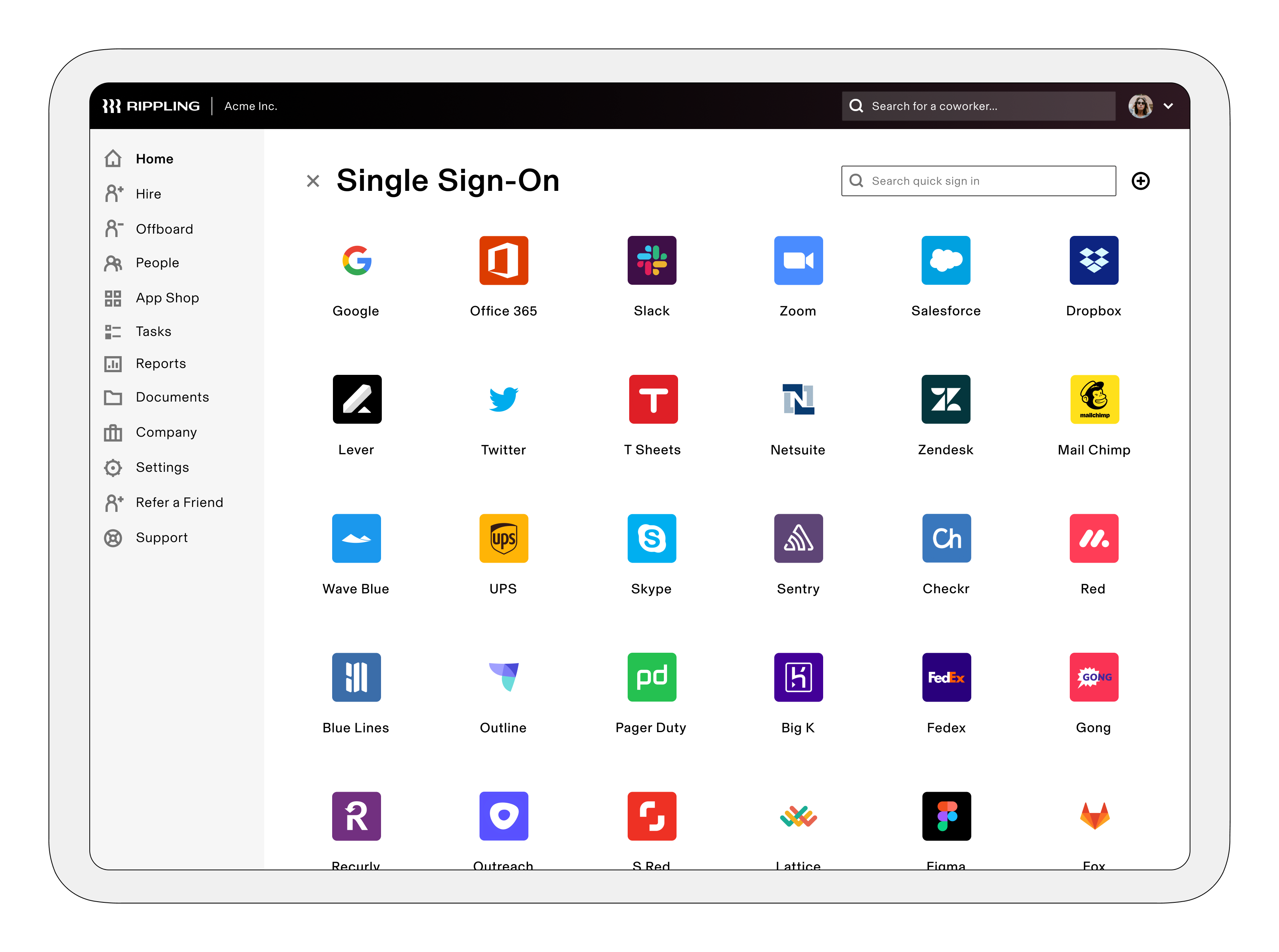 Single Sign-On allows your employees to access all of their SaaS apps in 1-click, right from their Rippling dashboard.