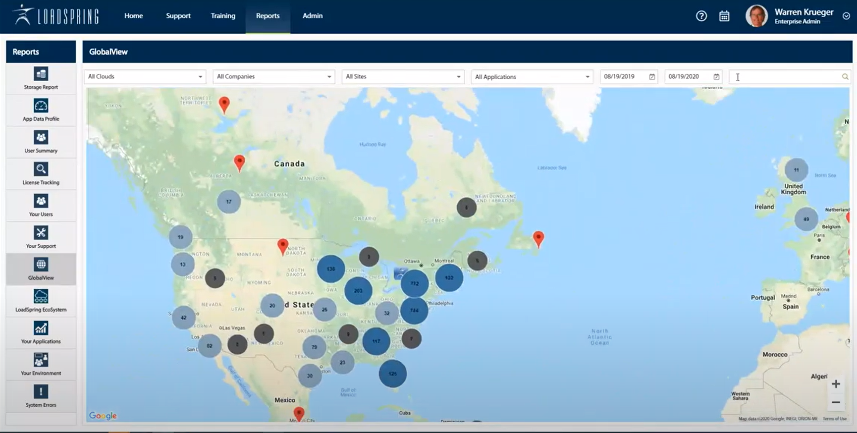 LoadSpring Cloud Platform 9.0 allows for global view reporting capabilities. Here you can quickly see users' log-in locations and search for a specific user and which applications they have launched.