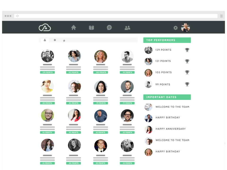 Wisetail LMS includes a built-in leaderboard, which ranks users according to the number of points they have earned through interactions