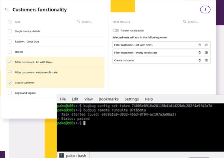 BugBug group tests and run via API