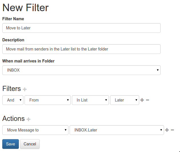 """Filter to automatically move email from """"Later"""" senders to the Later folder"""
