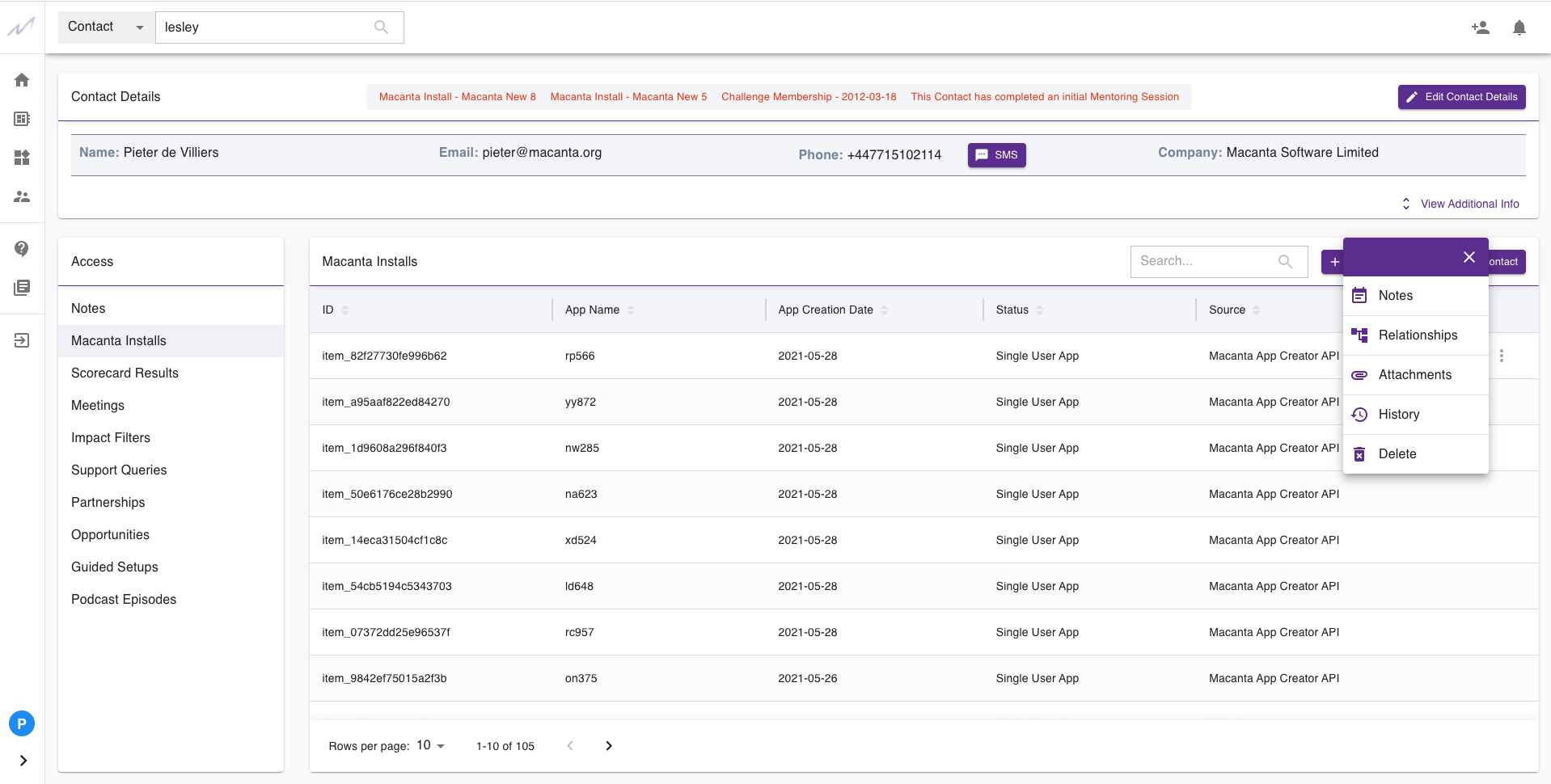 List view of any Data Objects the viewed contact has a relationship to, with easy access to all Notes, Relationships, Attached Files as well as complete Data and Automation History