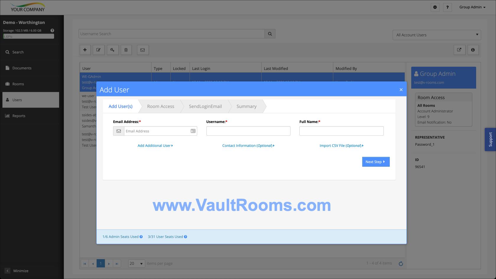 Vault Rooms screenshot: User Screen