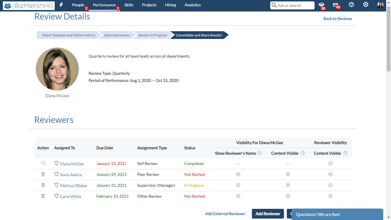 BizMerlinHR Software - Performance Review