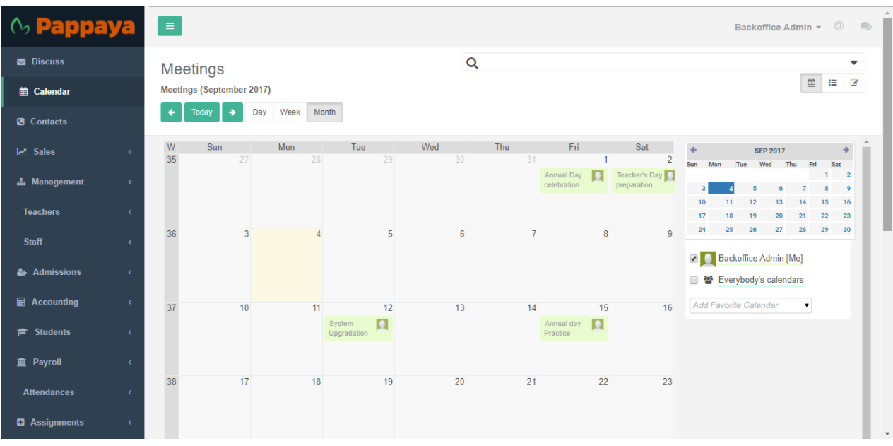 Use the calendar to manage events and meetings