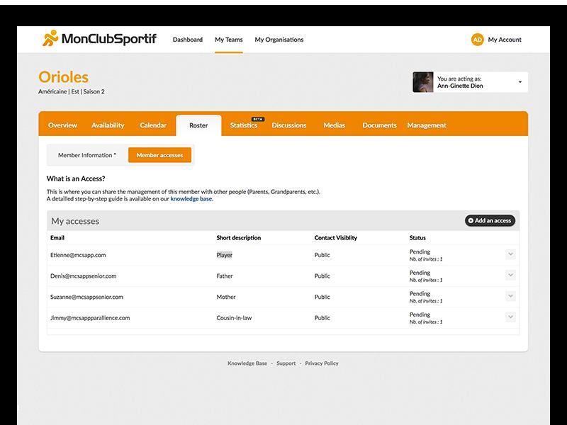 MonClubSportif user information