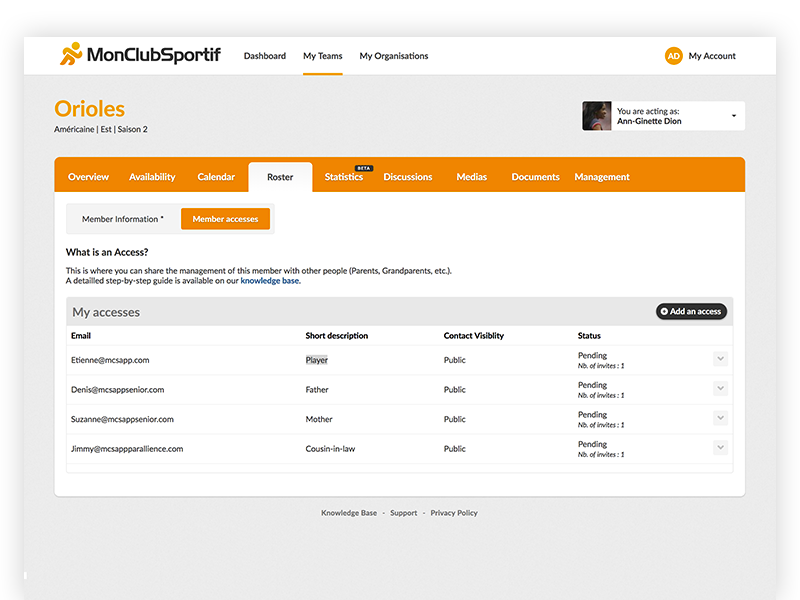 MonClubSportif user information