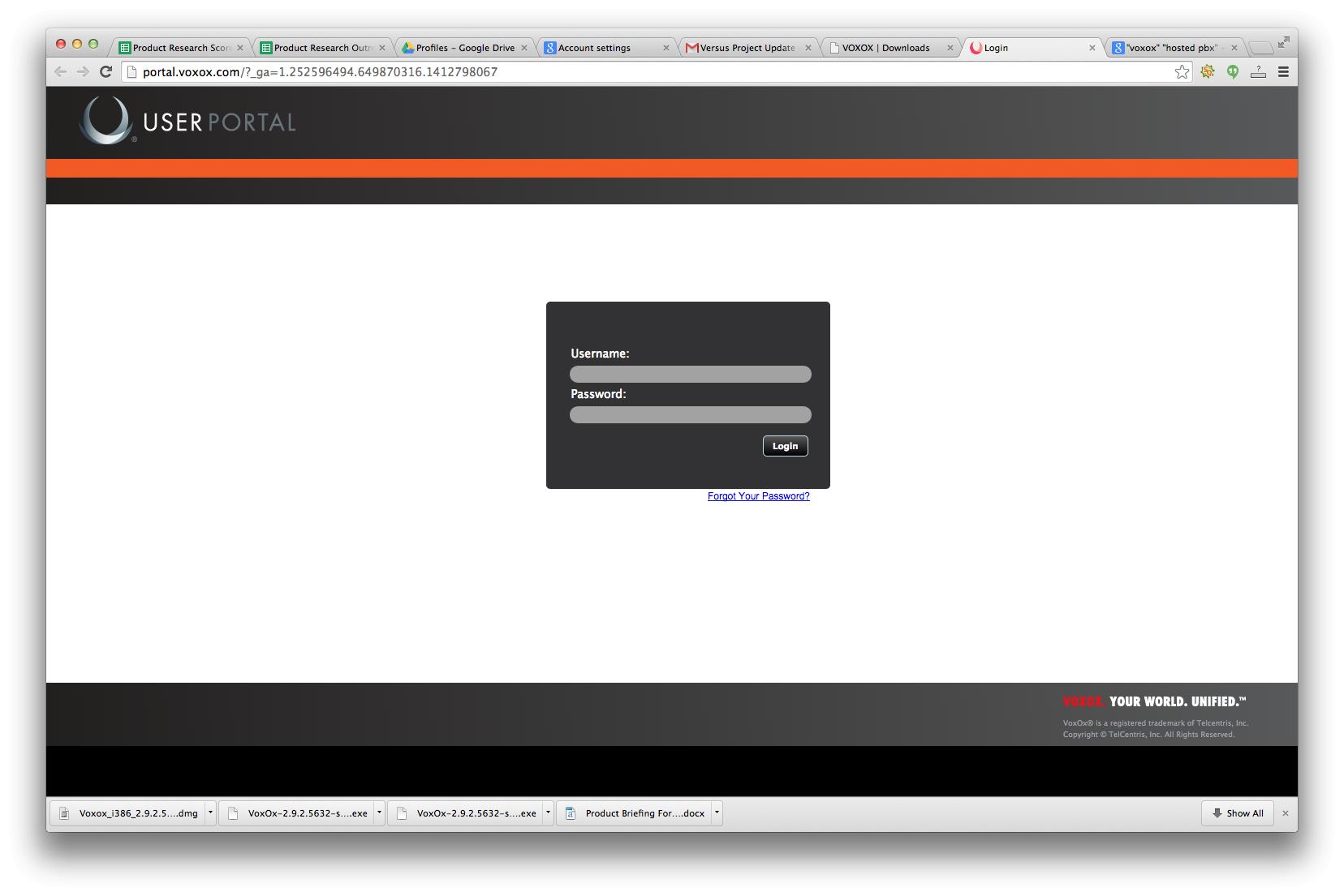 User portal login