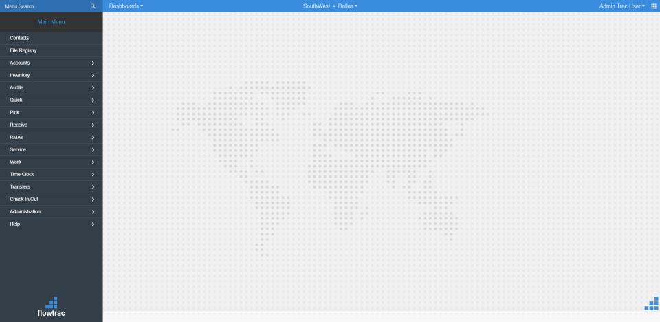 Flowtrac Software - Menu Screen