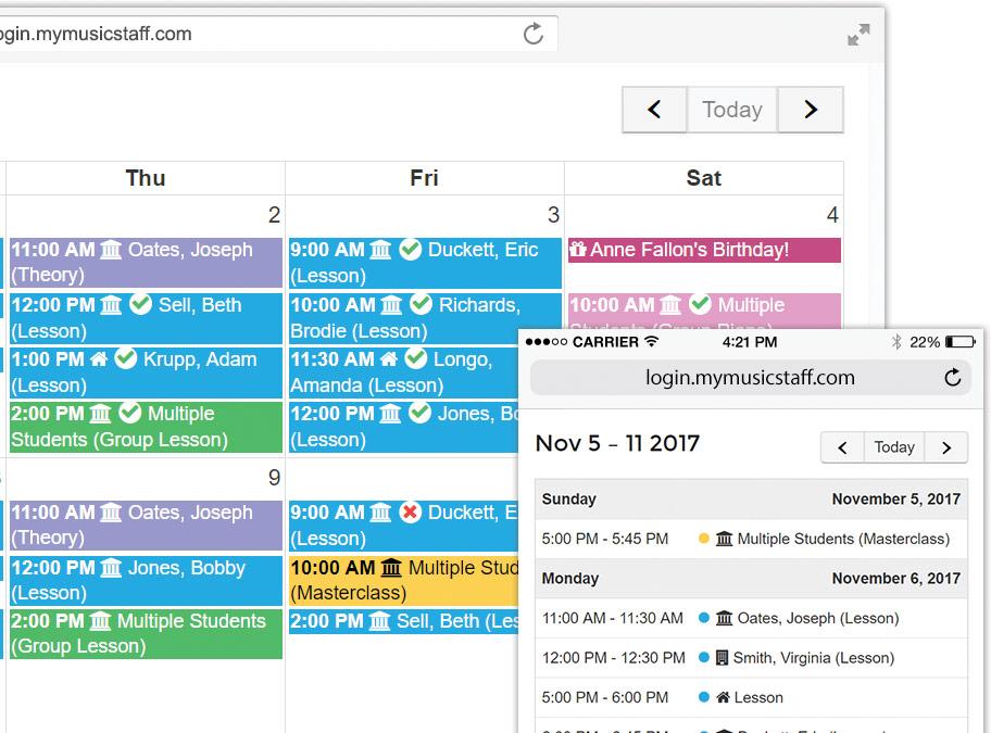 My Music Staff Software - Scheduling