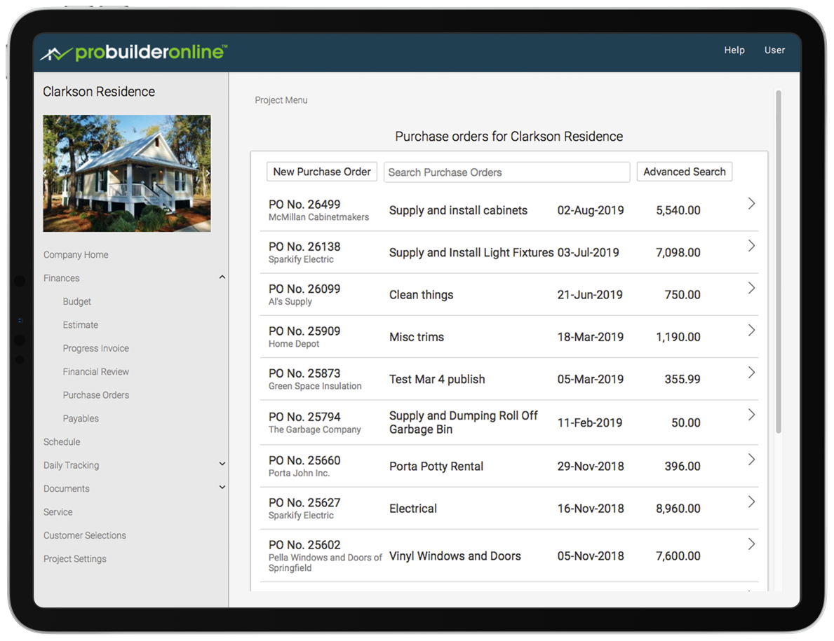 ProBuilder Purchase Orders
