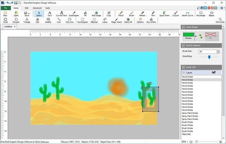 DrawPad create digital paintings with a variety of freehand drawing tools