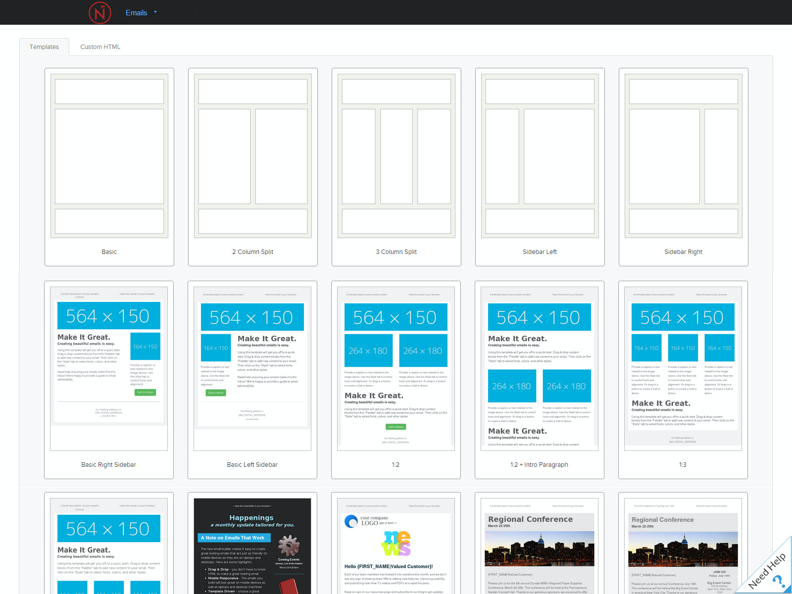 Create emails from scratch, or start with one of the many responsive templates available in the email template library