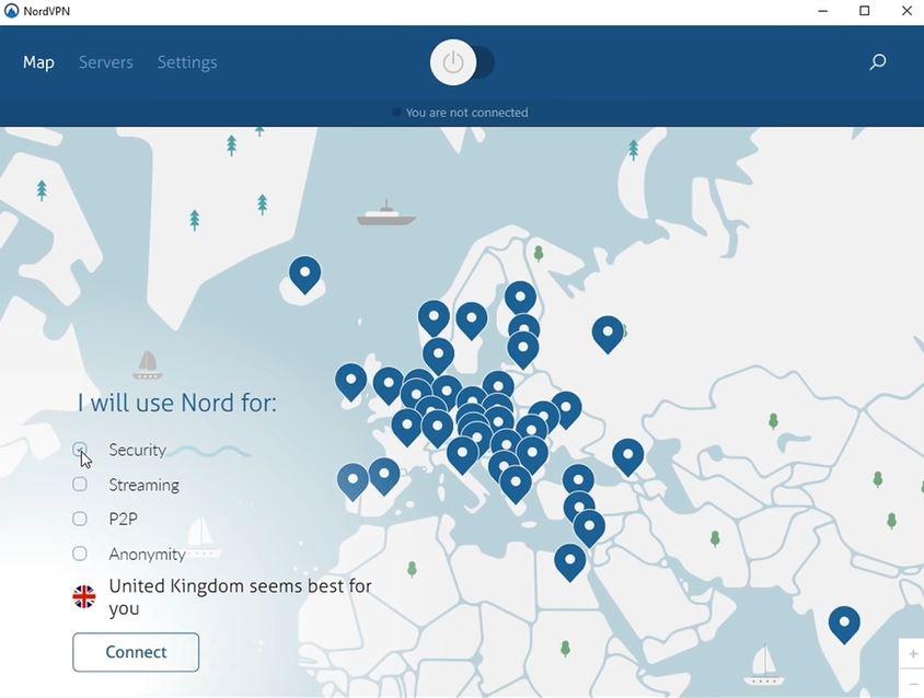 NordVPN map