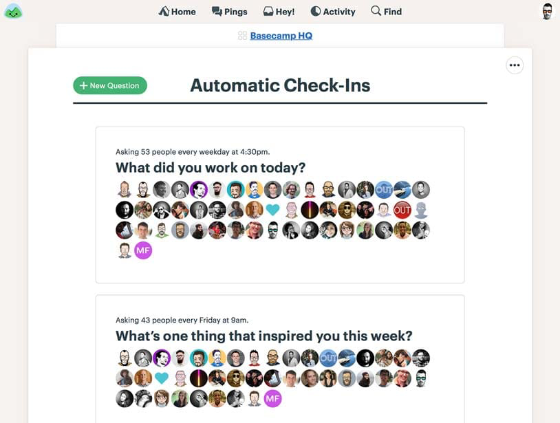 Automatic check-in questions can be customized