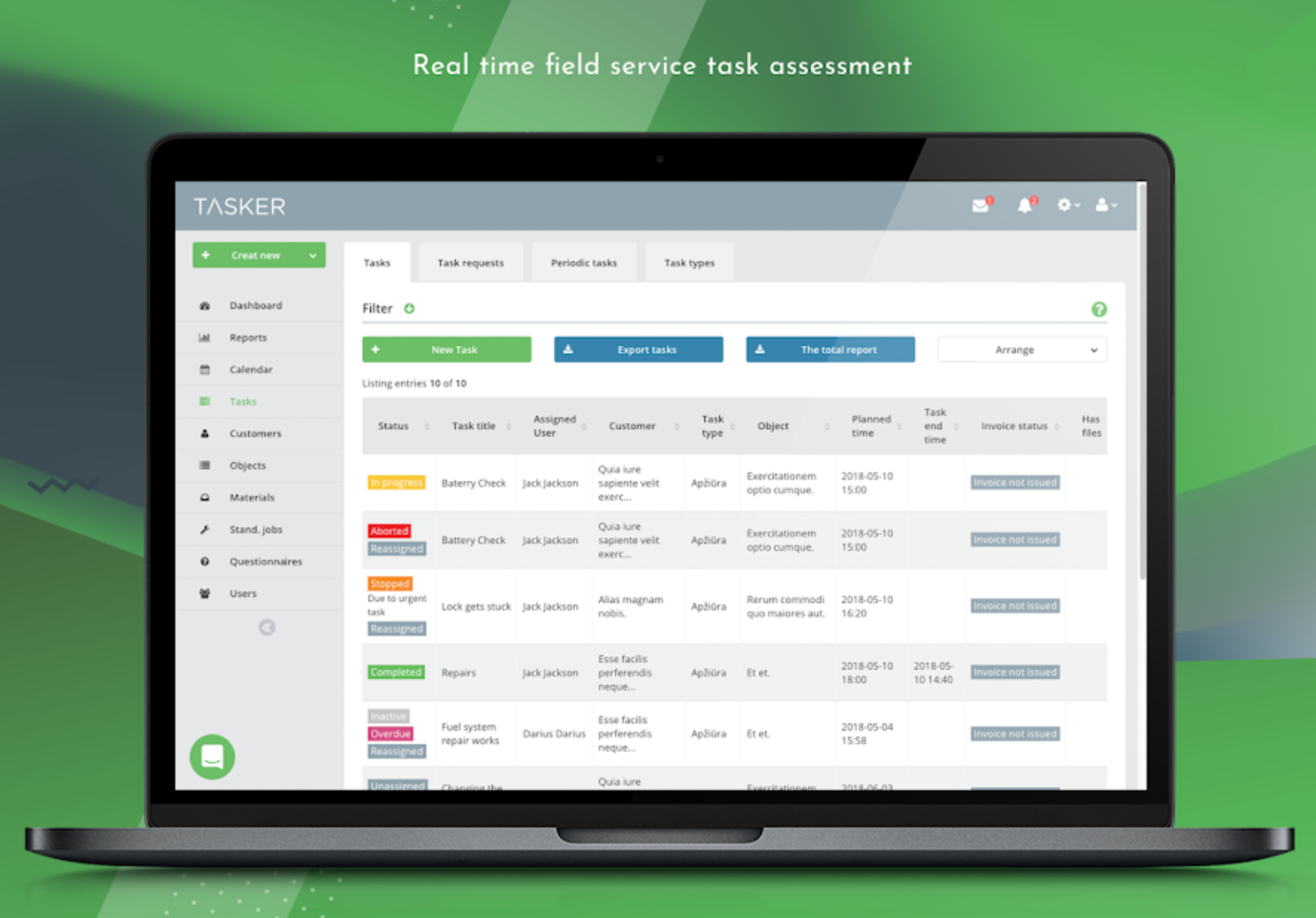 View field service task assessments in real time