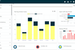 Intellimas screenshot: Main Intellimas screen with our dashboard charts, business functions, and exception searches.