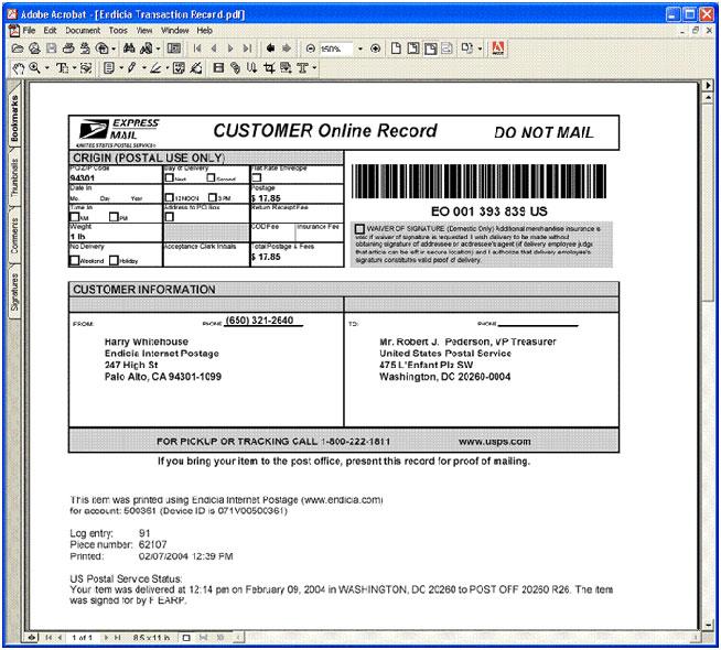 Endicia customer online record