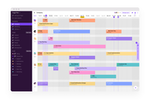 Capture d'écran pour Toggl Plan : Team timeline - assign, color-code and mark tasks as done for an easy visual overview of who is doing what and when. Change between week, month, 3 months and an annual view.
