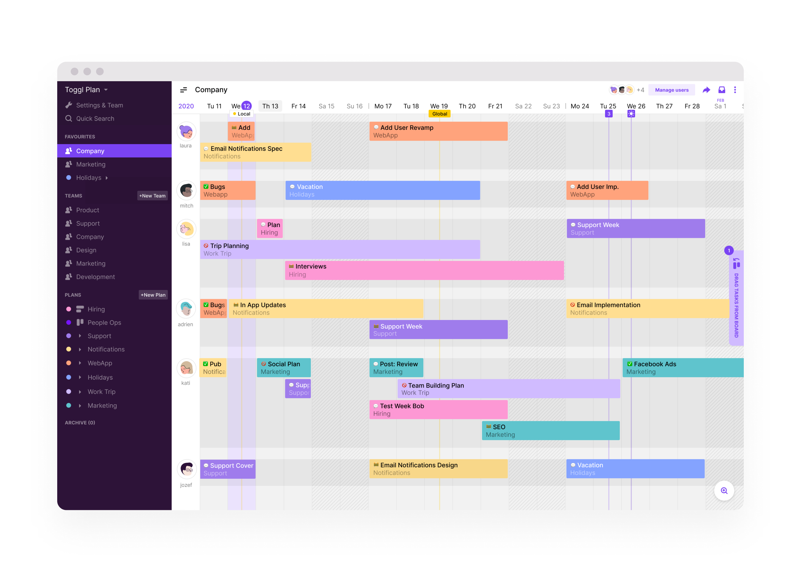 Team timeline - assign, color-code and mark tasks as done for an easy visual overview of who is doing what and when. Change between week, month, 3 months and an annual view.