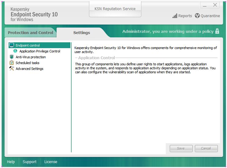 Security settings