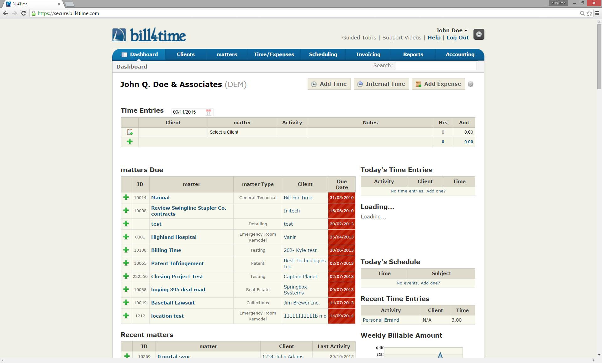 Bill4Time Software - Dashboard