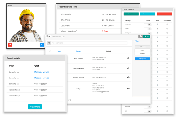 The employee management feature allows users to track employee expenses and set up permissions for all employees