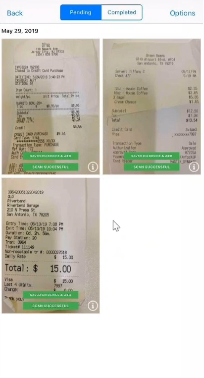 Receipt Box view - Store & Sync Receipts, Scan Receipts, Organize Receipts based on whether the coding is Pending or Completed