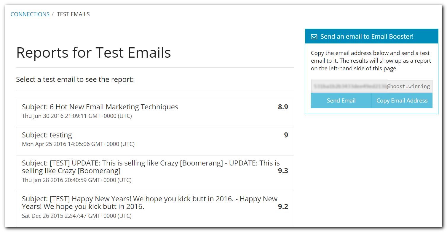 Winning Email Software - Test email