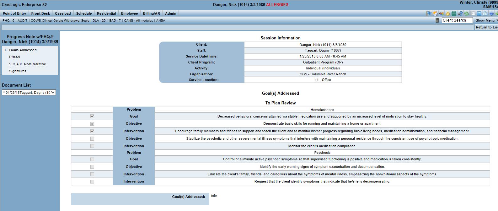 CareLogic Enterprise - Qualifacts progress notes