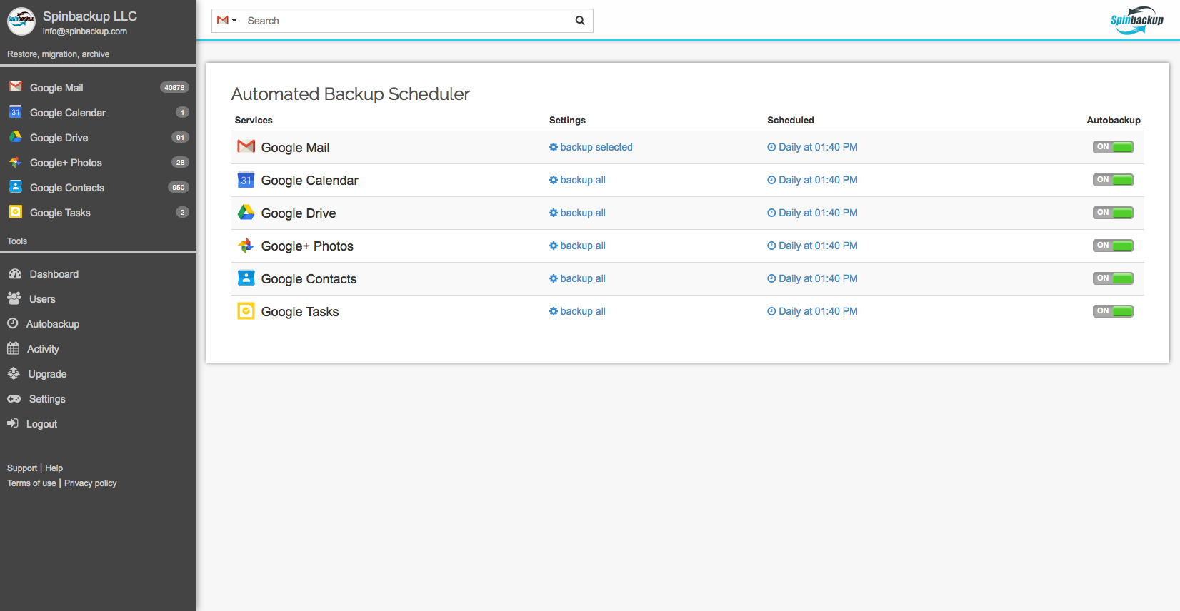 Automated backup scheduler
