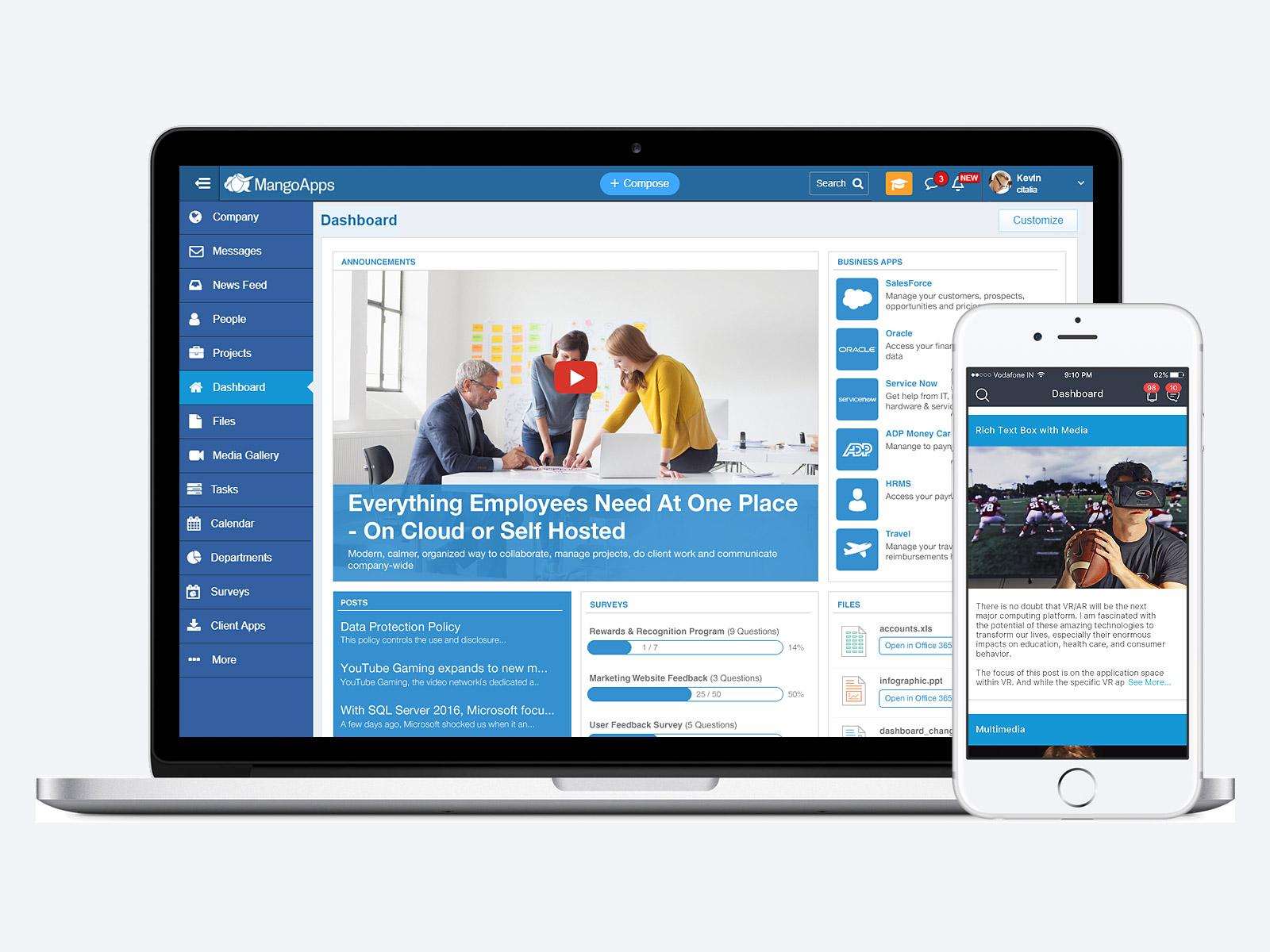 MangoApps main dashboard