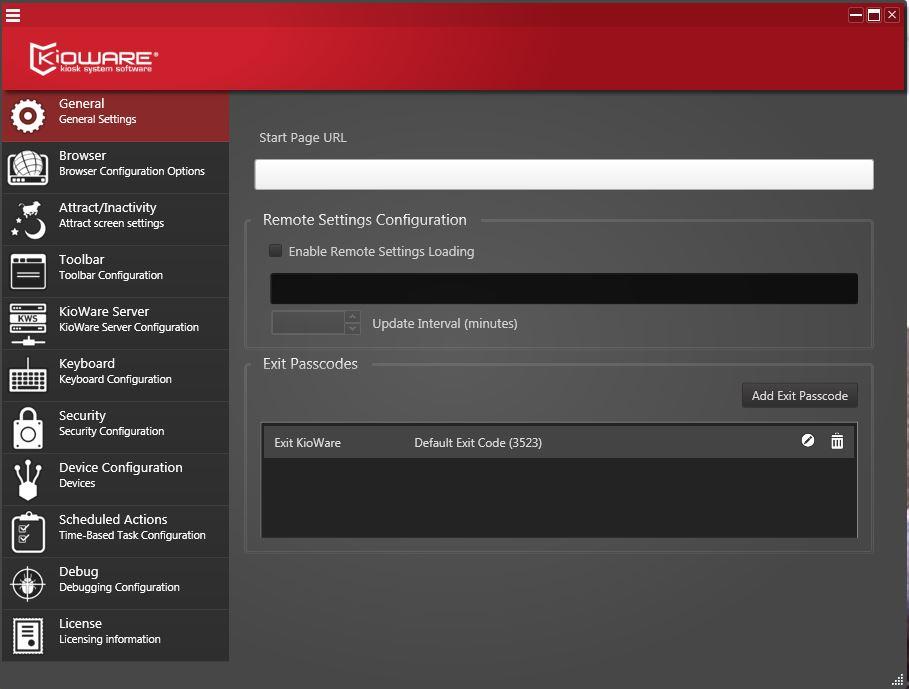 Kioware Kiosk Software general settings
