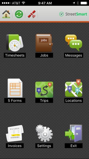 StreetSmart mobile app menu